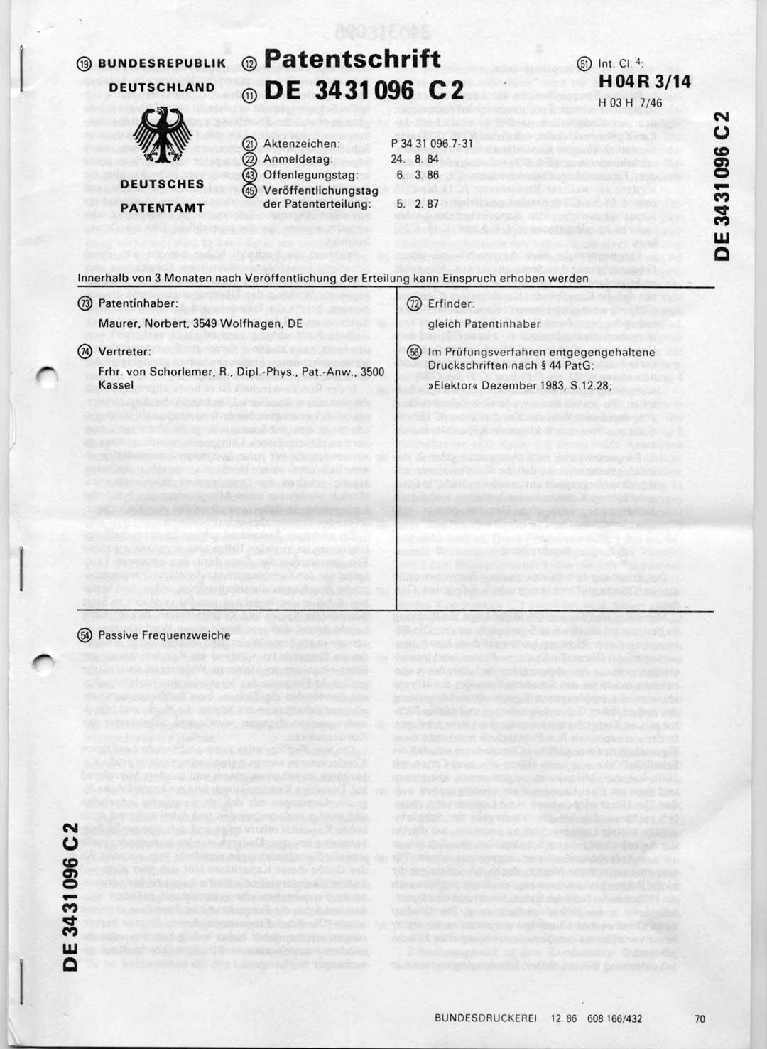 Patentschrift-Frequenzweiche Norbert Maurer, Quelle: Vortex HiFi