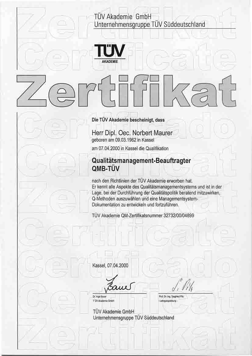 QMB-Zertifikat TÜV-Akademie, Quelle: Vortex HiFi