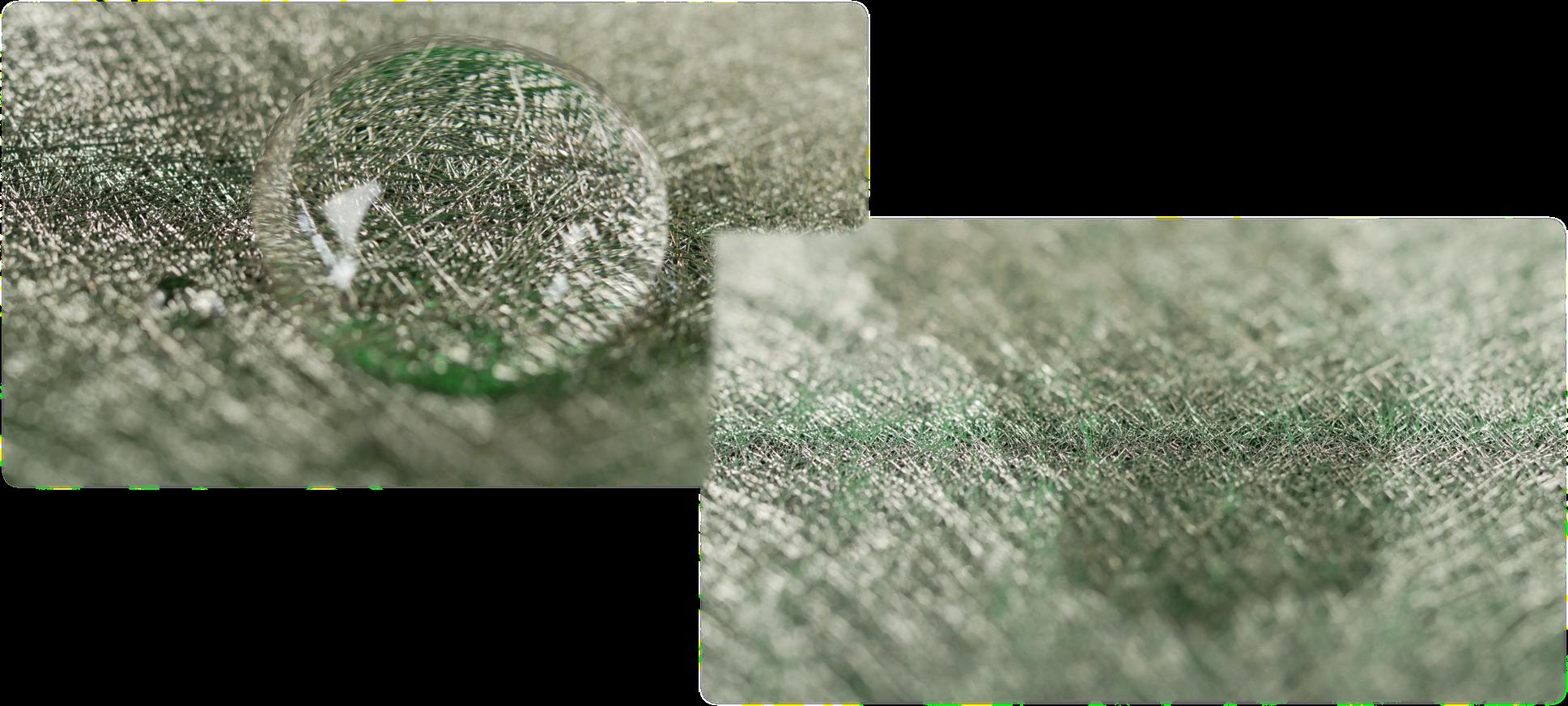 Nano Shield Superschirm links, rechts ohne Nanopartikel. Die Nano Technologie ermöglicht völlig neue Schirmeigenschaften.